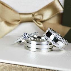 Alianças de Compromisso em prata 950 com anel