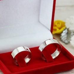 Alianças de Compromisso lisa em prata 6mm