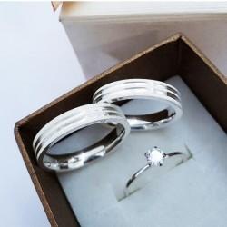 Alianças de Compromisso para namoro e anel solitário 5mm