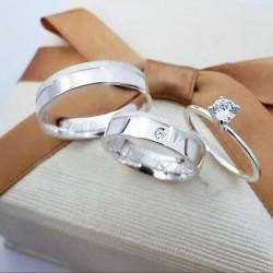 Alianças de Compromisso mais anel solitário 5mm