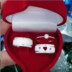 Alianças de Compromisso coração vazado + anel 8mm