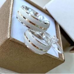 Alianças de Compromisso e anel solitário prata 950