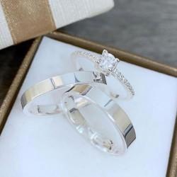 Alianças de Compromisso e namoro prata + anel 4mm