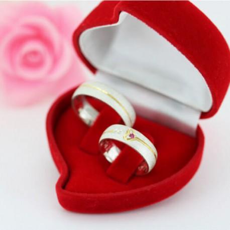 Alianças de Compromisso Prata Diamantadas Coração 7,5mm