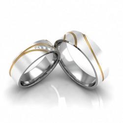 Alianças de Compromisso Prata Foscas Aplique Ouro 9mm