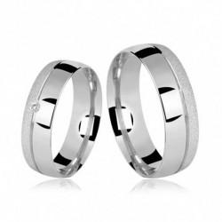 Alianças de Compromisso Prata Polidas E Diamantadas 6mm