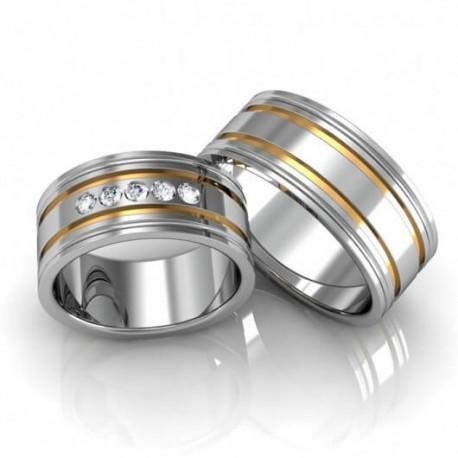 Alianças de Compromisso Ouro e Prata 8,5 mm