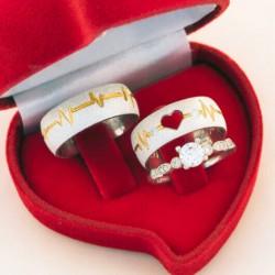 Alianças de Compromisso batimento cardíaco + anel solitário