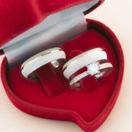 Alianças de Compromisso mais anel solitário em prata
