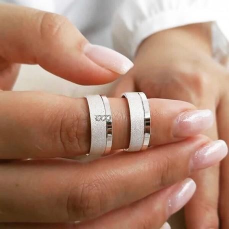 Alianças de Compromisso Trabalhadas em prata 7,5mm